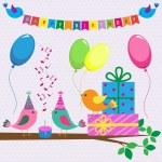 Vector birthday card with cute birds — Stock Vector #11566466