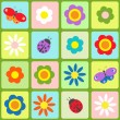 Flowers, butterflies and ladybugs — Stock Vector