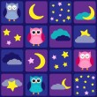 Stok Vektör: Night sky with owls