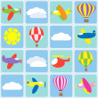 Stock Vector: Air transportation. Seamless vector pattern