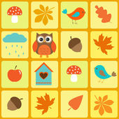 Birds,owl and autumnal leaf — Vector de stock