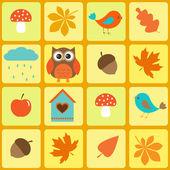 Oiseaux, hibou et feuilles automnales — Vecteur