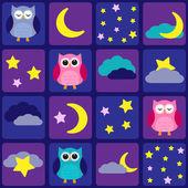 Cielo nocturno con búhos — Vector de stock