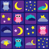 Night sky with owls — Vector de stock
