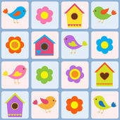 Birds, flowers and birdhouses. Seamless vector pattern — Stock Vector