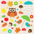 图库矢量图片: Vector set of autumnal stickers