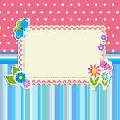 Frame with flowers and butterflies — ストックベクタ