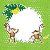 Frame with funny monkeys — Stock Vector