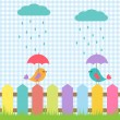 Background with birds under umbrellas — Vector de stock