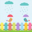 pozadí s ptáky pod deštníky — Stock vektor