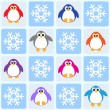Penguins and snowflakes — Stock Vector
