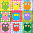 Patchwork background with colorful owls — Imagens vectoriais em stock