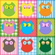 Patchwork background with colorful owls — Stock Vector