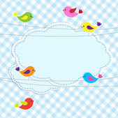 Frame with birds on wires — Vector de stock