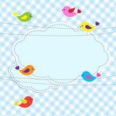 ワイヤ上の鳥とフレーム — ストックベクタ