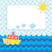 Marco con nave de dibujos animados — Vector de stock