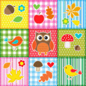 Autumn background with leaves,acorns,birds and owl — ストックベクタ