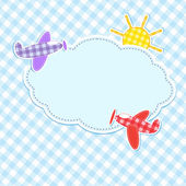 Frame with colorful aeroplanes — ストックベクタ