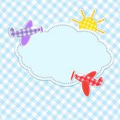Ram med färgglada flygplan — Stockvektor