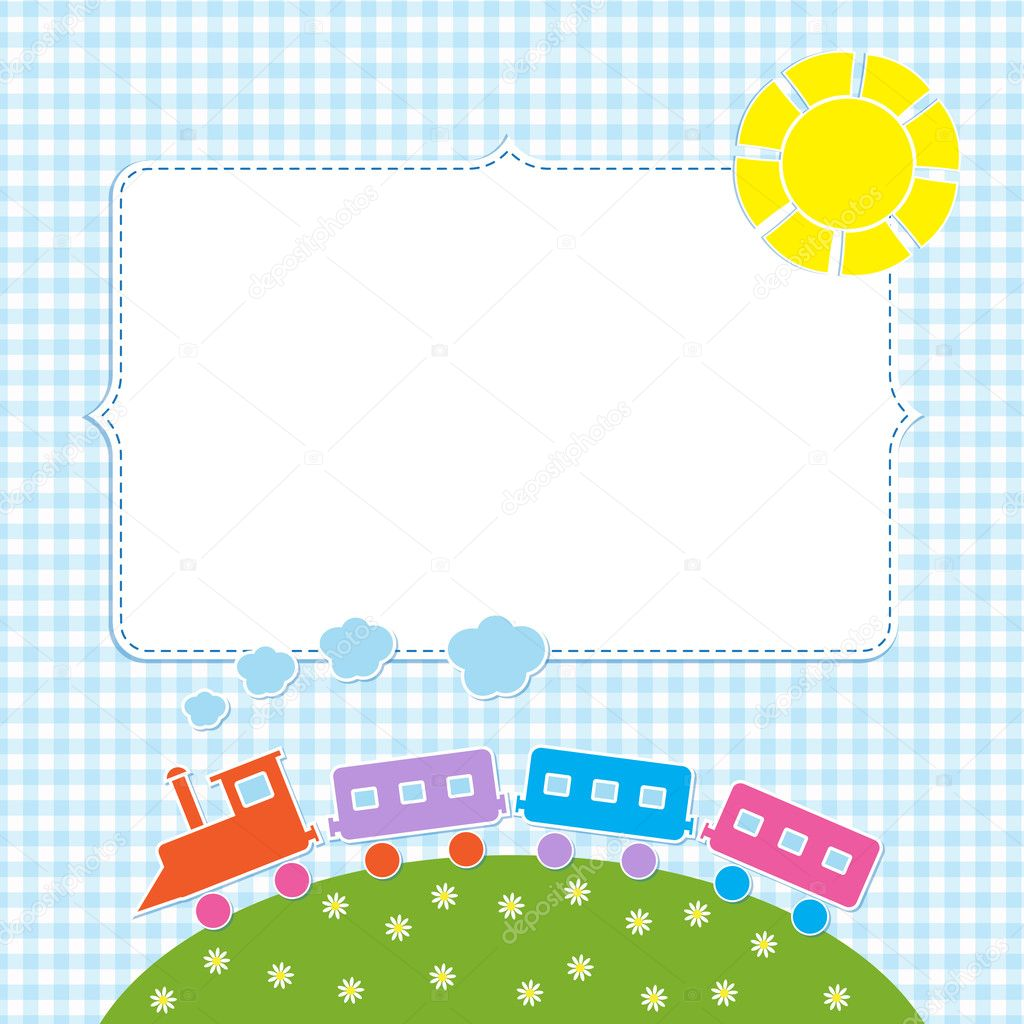 Frame with colorful train — Stock Vector #12560512