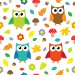 Autumn background with owls — Stok Vektör
