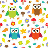 Autumn background with owls — Stock Vector