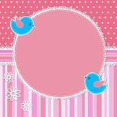 розовый рамка с птицы и цветы — Cтоковый вектор