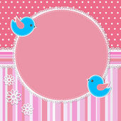 Roze frame met vogels en bloemen — Stockvector