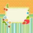 Frame with flowers and fruits — Stock Vector #12764461