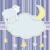 Frame with cute sheep,moon and stars — Vecteur