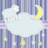 Marco con oveja bonita, luna y estrellas — Vector de stock