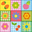 Patchwork with flowers, cherry, apple and strawberry - Grafika wektorowa