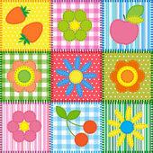 Patchwork de fleurs, cerise, pomme et fraise — Vecteur