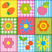 Patchwork with flowers, cherry, apple and strawberry — 图库矢量图片