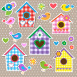 Vector de stock : Birdhouses,birds and flowers