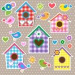 Birdhouses,birds and flowers — Stock Vector