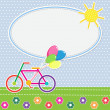 Frame with colorful bike — Imagen vectorial