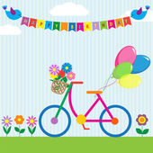 Colorful bike with flowers and balloons — Stock Vector