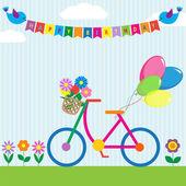 çiçekler ve balon ile renkli bisiklet — Stok Vektör
