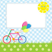 Frame with cute bike — Stock Vector