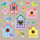 Birdhouses, uccelli e fiori — Vettoriale Stock