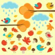 Birds in autumn forest — Stock Vector