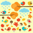 Stock Vector: Birds in autumn forest