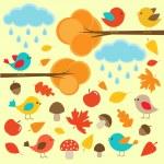 Birds in autumn forest — Stock Vector