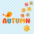 Stock Vector: Autumn lettering with cute bird and leaves