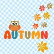 Autumn lettering with cute owl and leaves — Stok Vektör