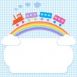 Frame with colorful train on rainbow — Stock Vector