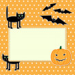 Stock Vector: Halloween card with funny black cat