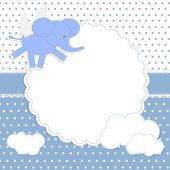 Cute baby boy card with elephant-angel — Stock Vector