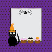 Halloween greeting card with cute black cat — Stock Vector